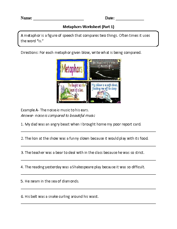 Printables Metaphor Worksheets englishlinx com metaphors worksheets writing with worksheet