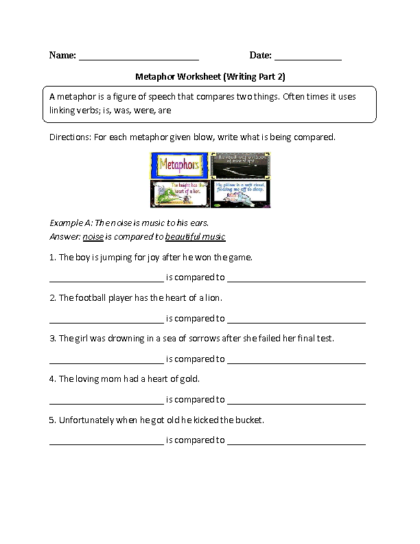 Metaphor Worksheet Writing Part 2 Intermediate