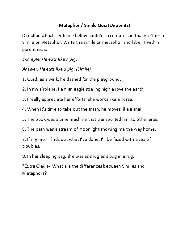 Englishlinx Com Figures Of Speech Worksheets