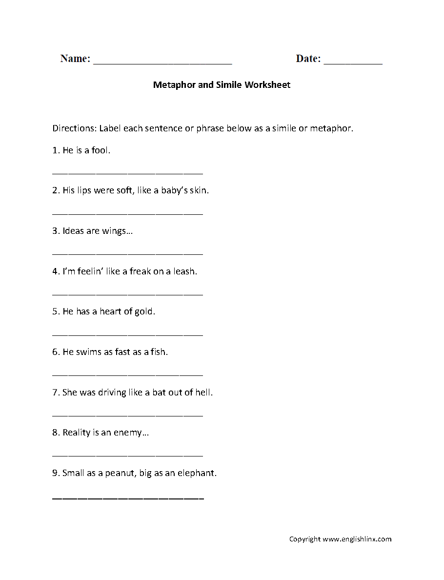 worksheet Simile Worksheets figurative language worksheets metaphor and simile worksheet