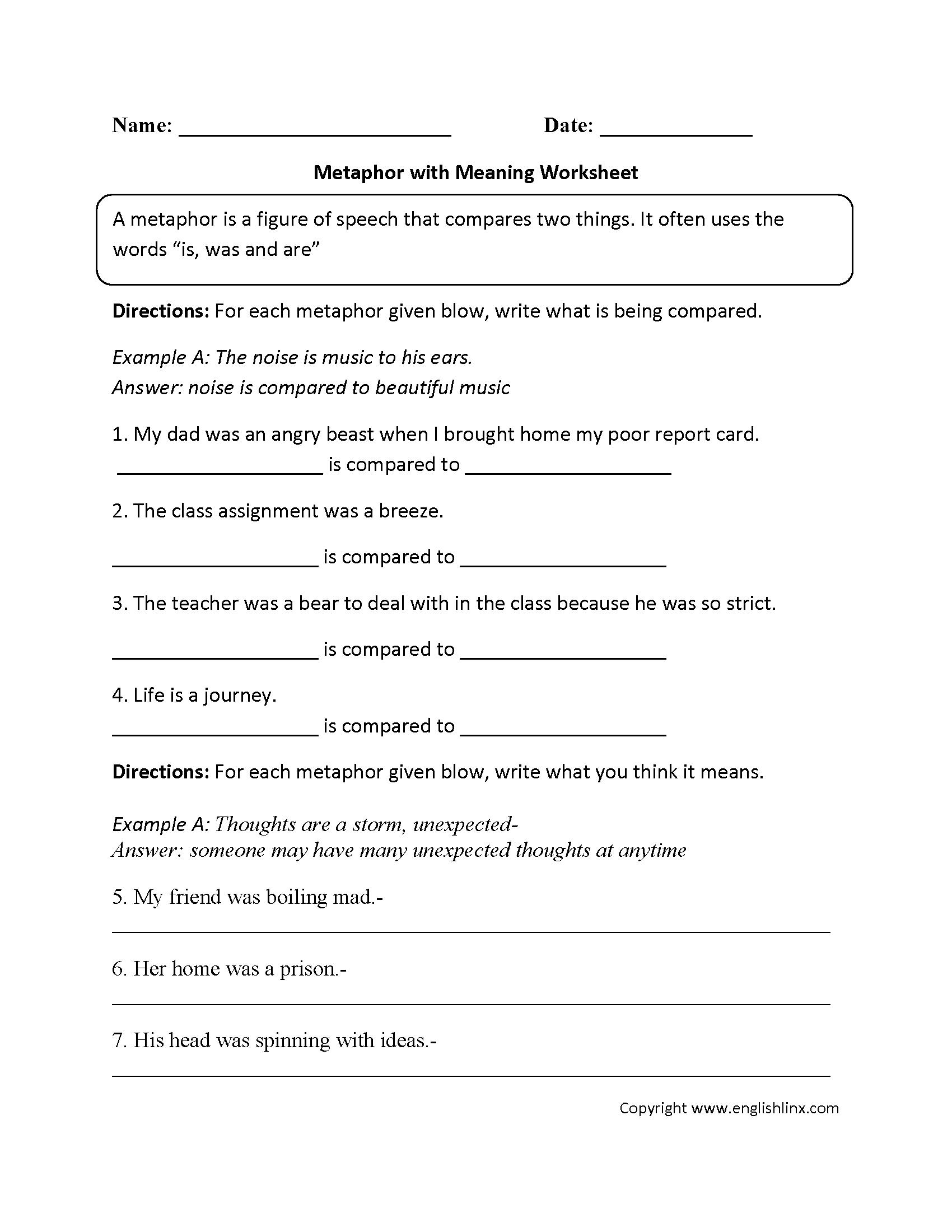 Figurative Language Worksheets   Metaphor Worksheets
