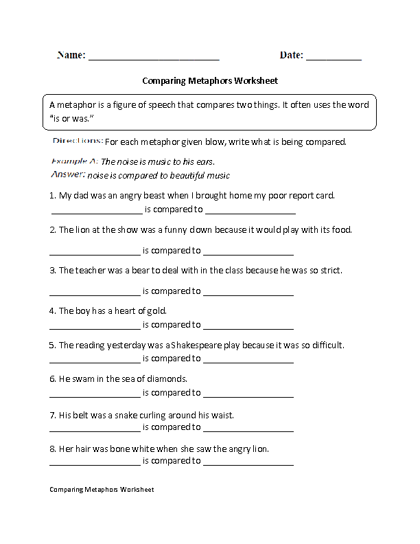 Metaphor Worksheets For 3Rd Grade – What is a Metaphor Math Worksheet