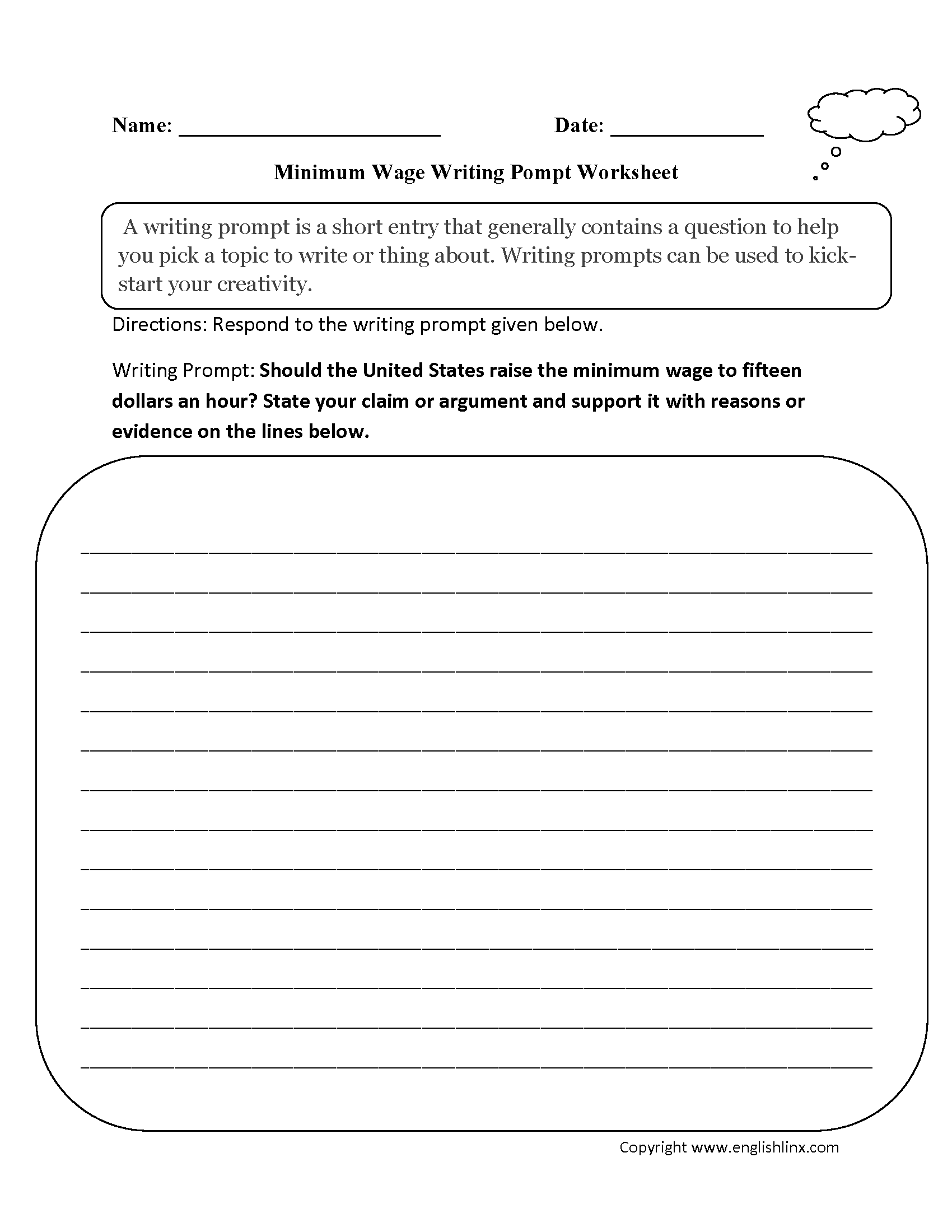 Picture prompt essay worksheet