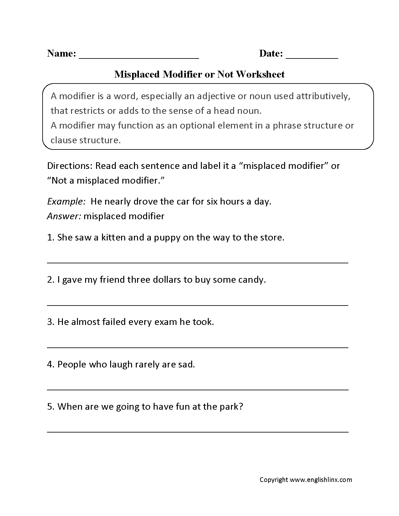 Worksheets Misplaced Modifier Worksheet word usage worksheets using modifiers worksheets