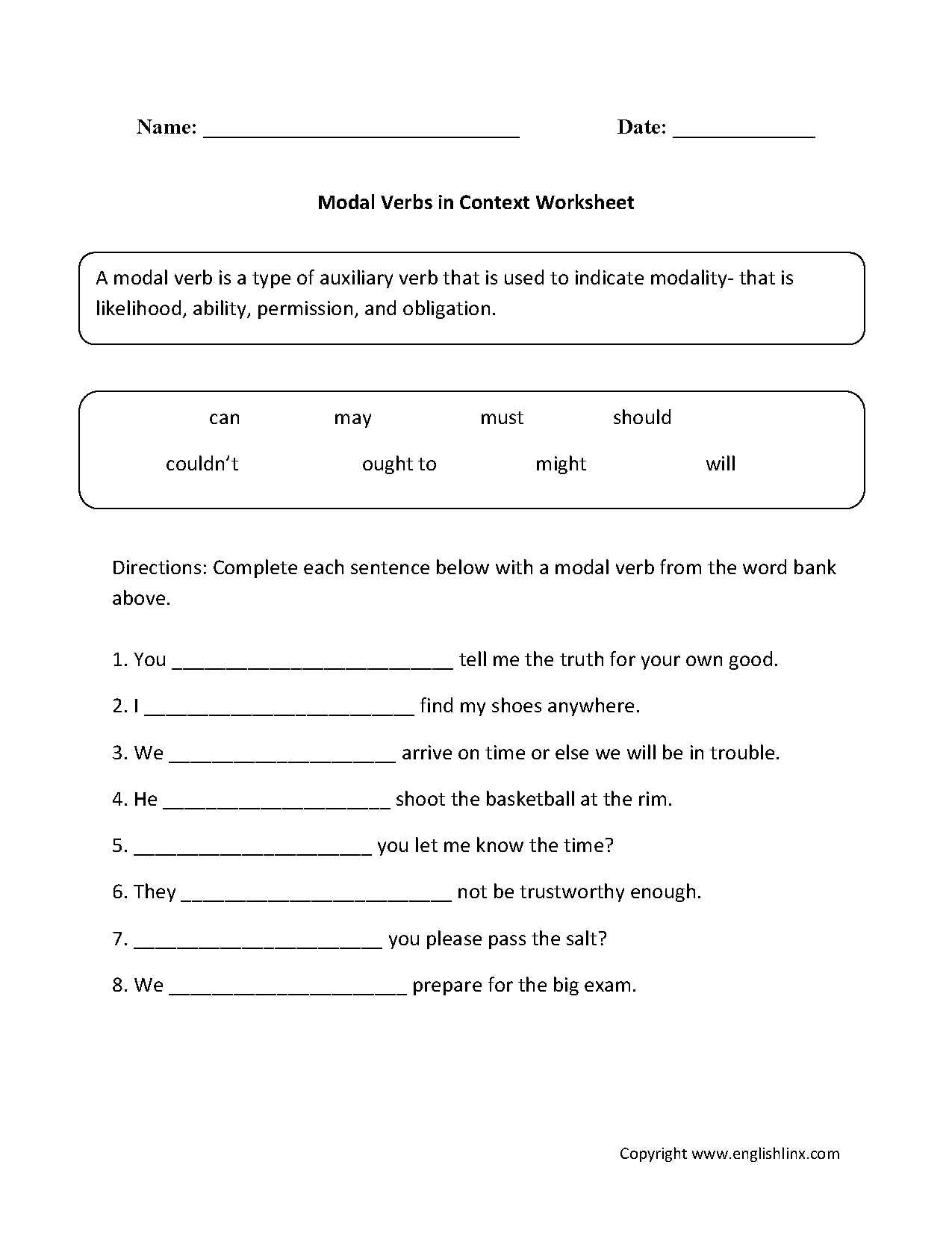 Englishlinx Com Verbs Worksheets Free Verb Sheets Modal Verbs Worksheets