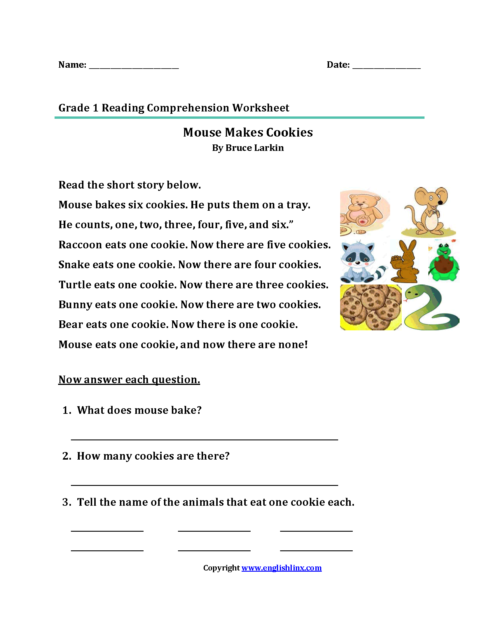 picture about Free Printable Reading Comprehension Worksheets for 1st Grade named Looking through Worksheets Initially Quality Looking at Worksheets