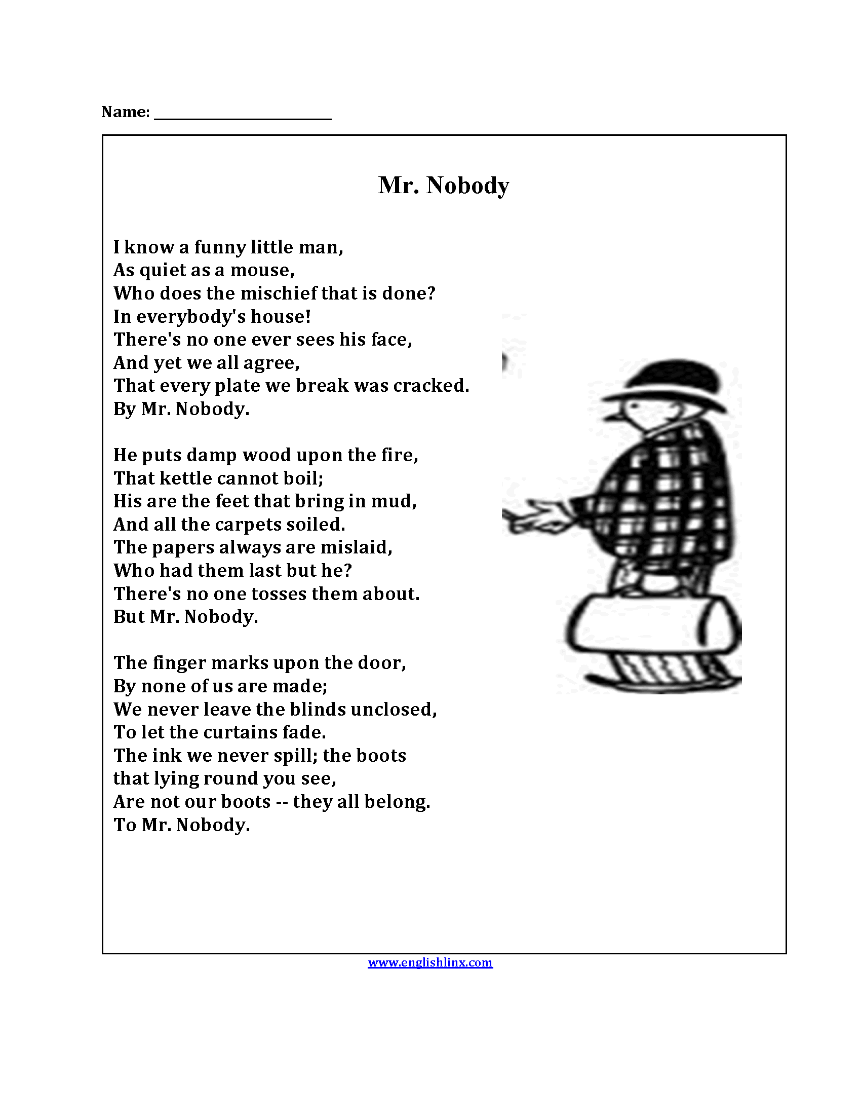 Mr. Nobody Poetry Worksheets