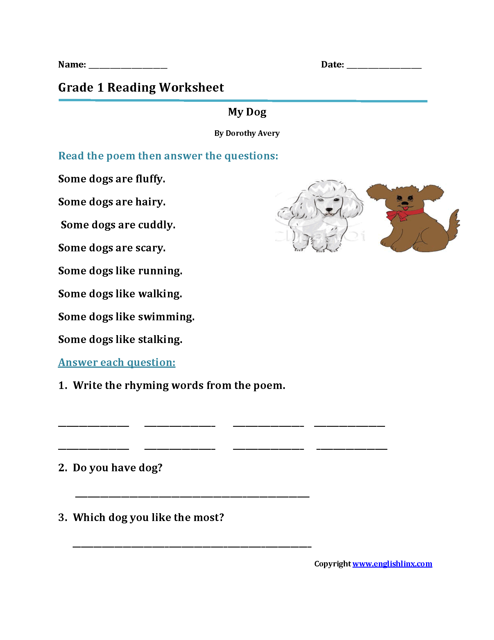 Worksheets Worksheets 1st Grade reading worksheets first grade my dogfirst worksheets
