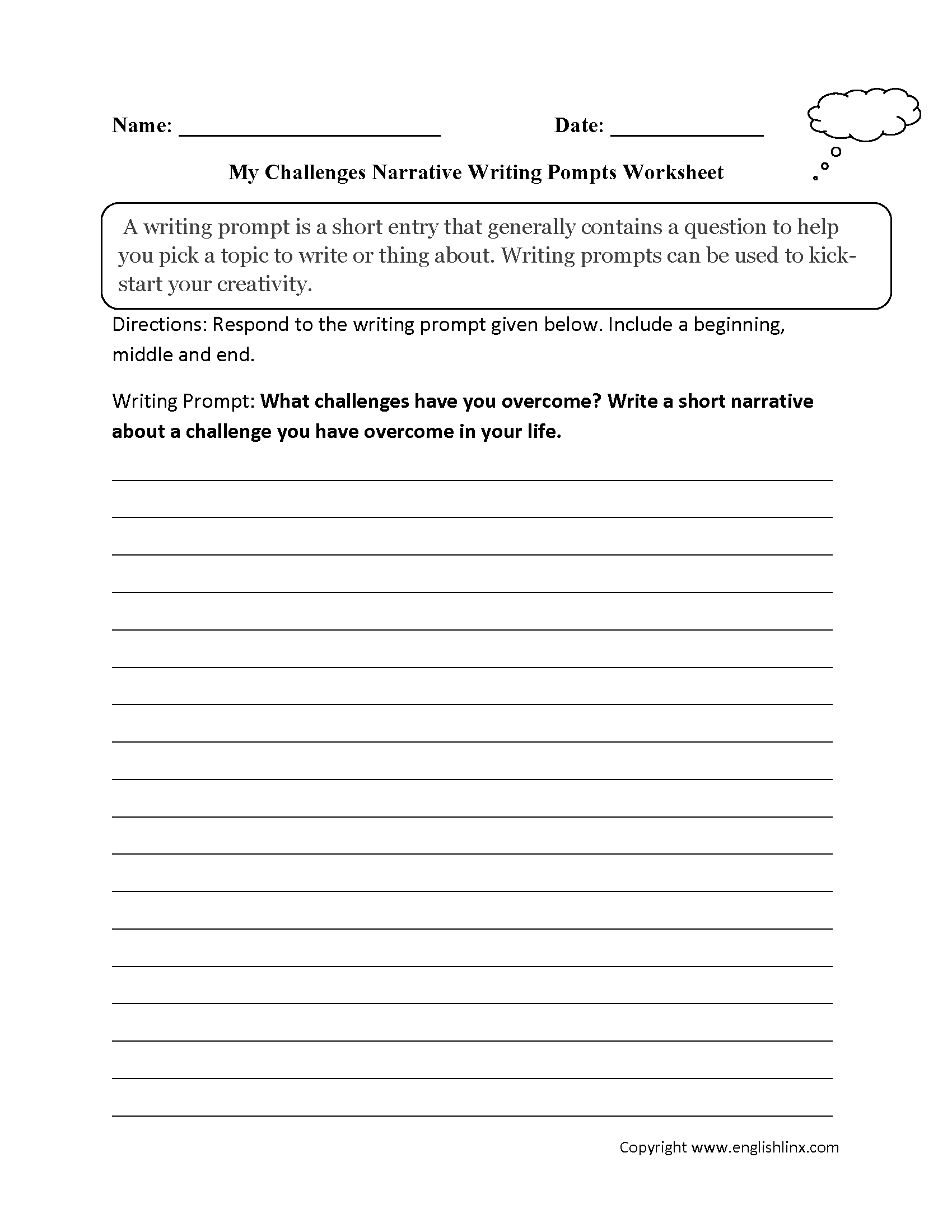 writing prompts worksheets narrative writing prompt worksheets overcoming challenges narrative writing prompt worksheet