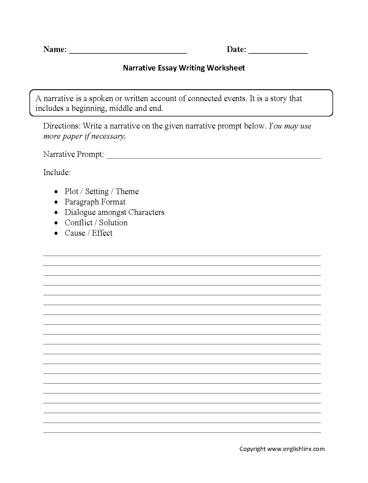 identify parts of an essay worksheet