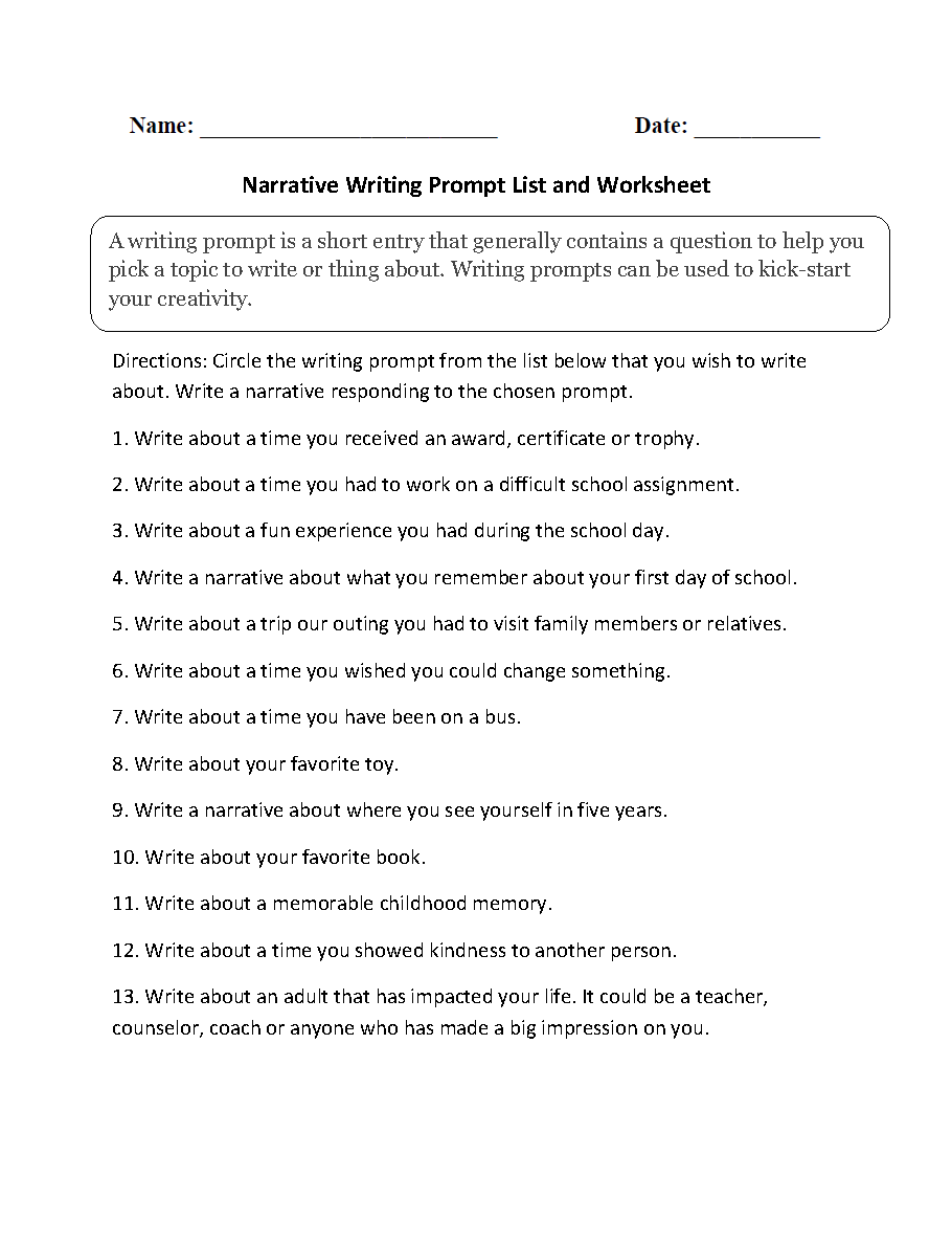 Workbooks plot and theme worksheets : Writing Prompts Worksheets | Narrative Writing Prompts Worksheets