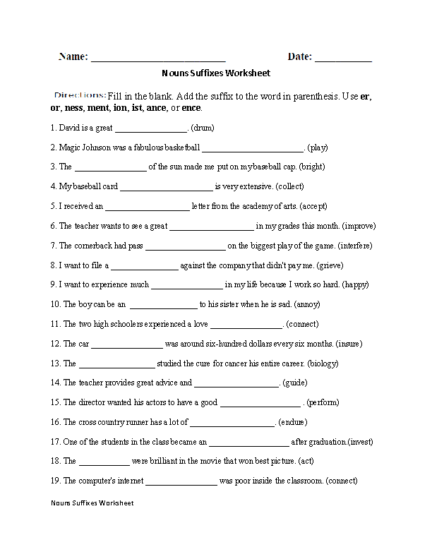 Regular Nouns Worksheets | Nouns Suffixes Worksheet