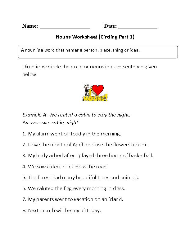 Regular Nouns Worksheets Circling Nouns Worksheet Part 1