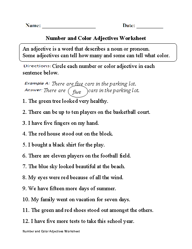 Regular Adjectives Worksheets | Number and Color Adjectives Worksheet