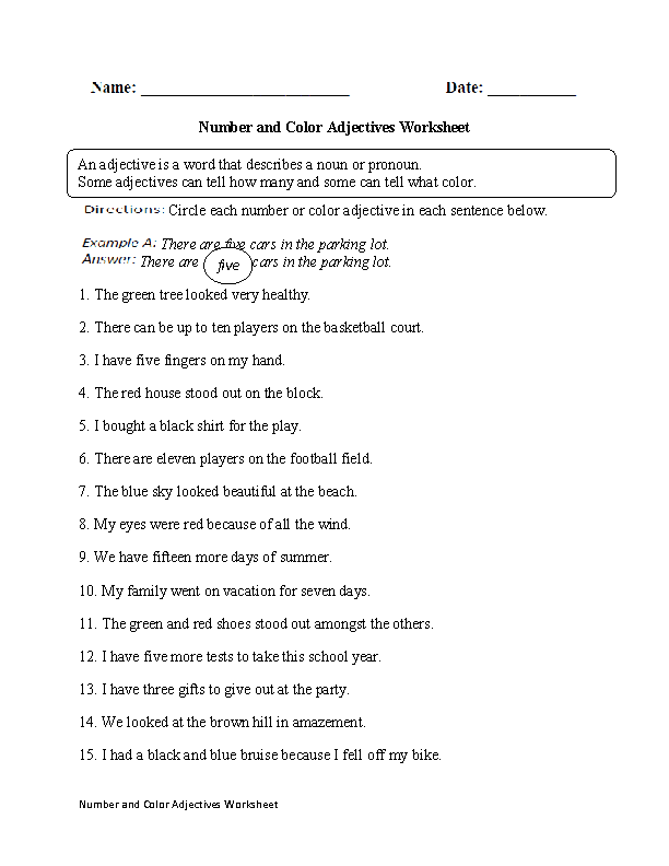 Printables Adjective Worksheet For Grade 2 adjectives worksheets regular worksheet