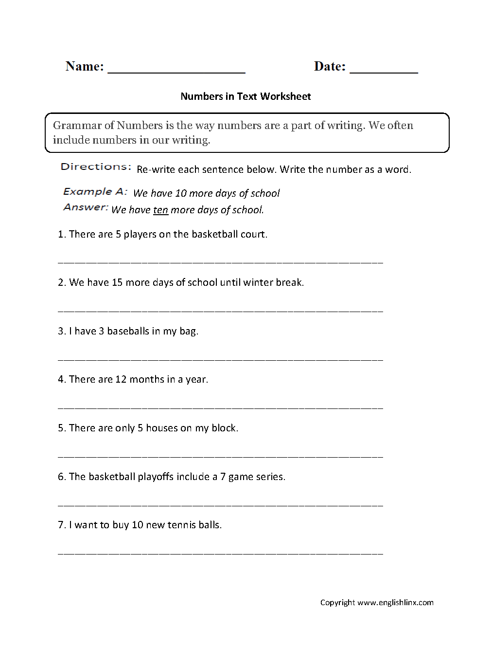grammar mechanics worksheets grammar of numbers worksheets numbers in text worksheets