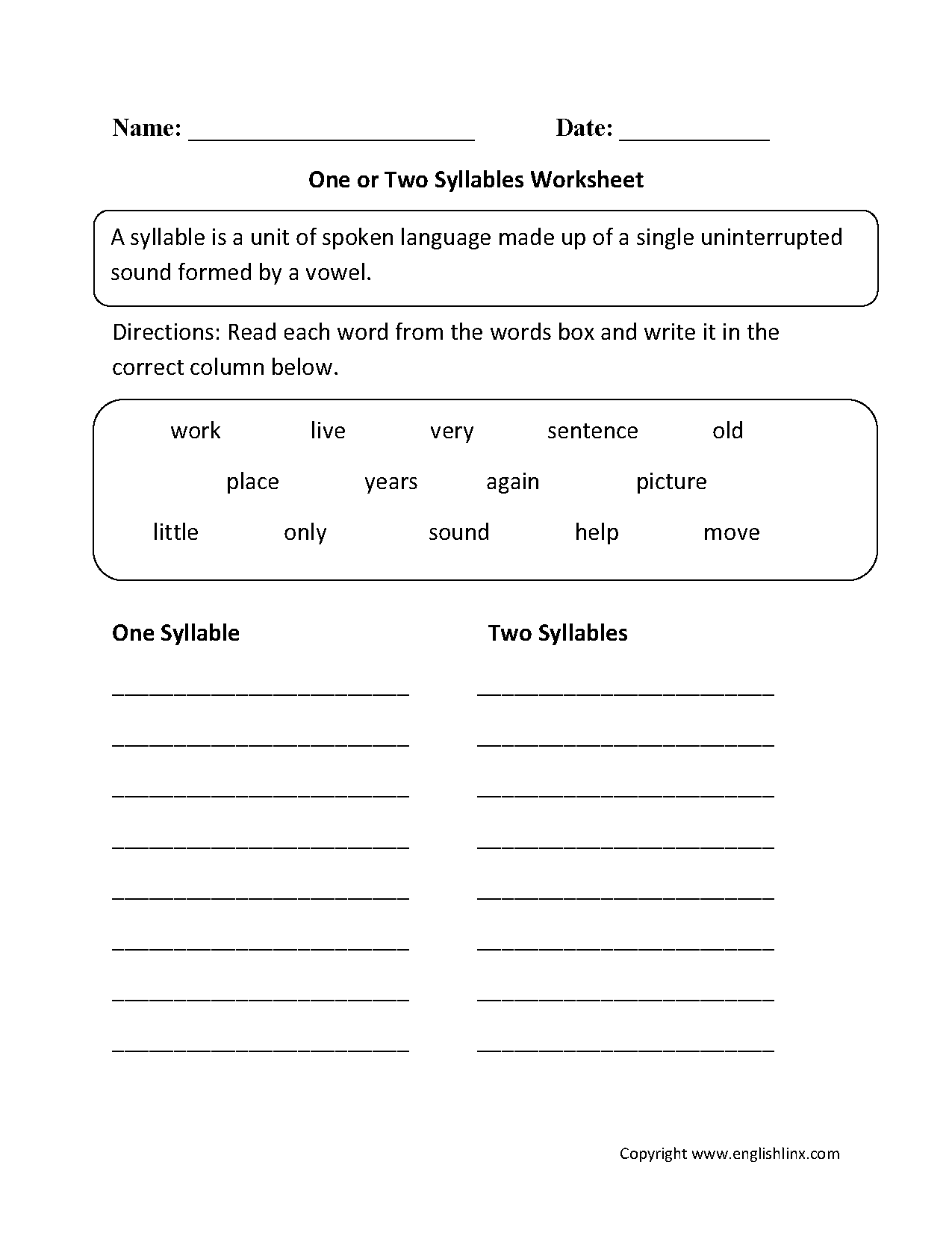 worksheet Syllable Worksheets For Kindergarten englishlinx com syllables worksheets worksheets