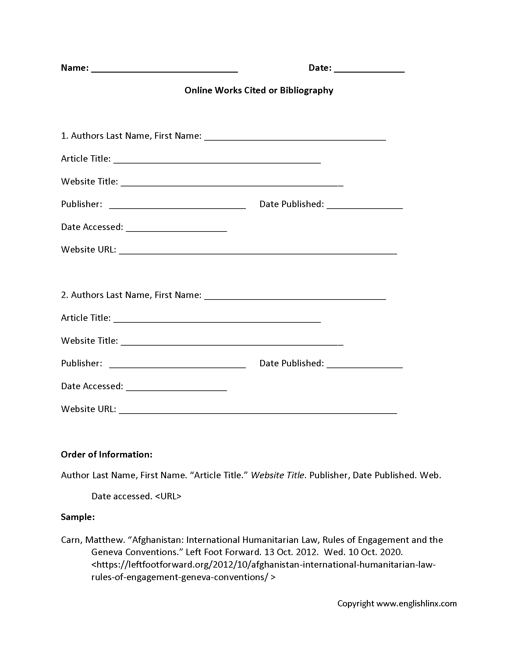 worksheet Citation Worksheet englishlinx com works cited worksheets worksheet