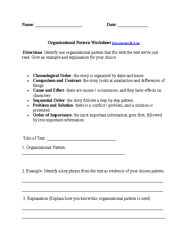 5th Grade Mon Core Writing Worksheets. Organizational Patterns Worksheet Elaliteracyw51a Writing. Fifth Grade. Fifth Grade Writing Worksheets At Clickcart.co