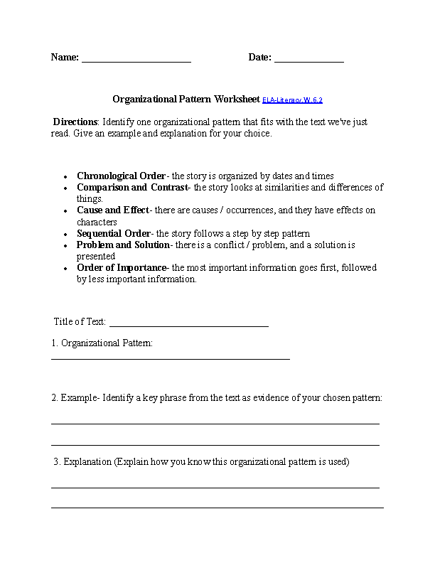 Printables Writing Worksheets For 6th Grade 6th grade common core writing worksheets organizational patterns worksheet ela literacy w 6 2 worksheet