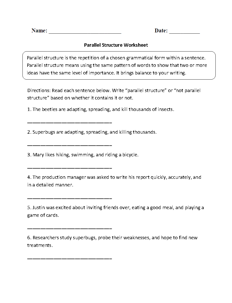 Englishlinx – Parallel Structure Worksheet