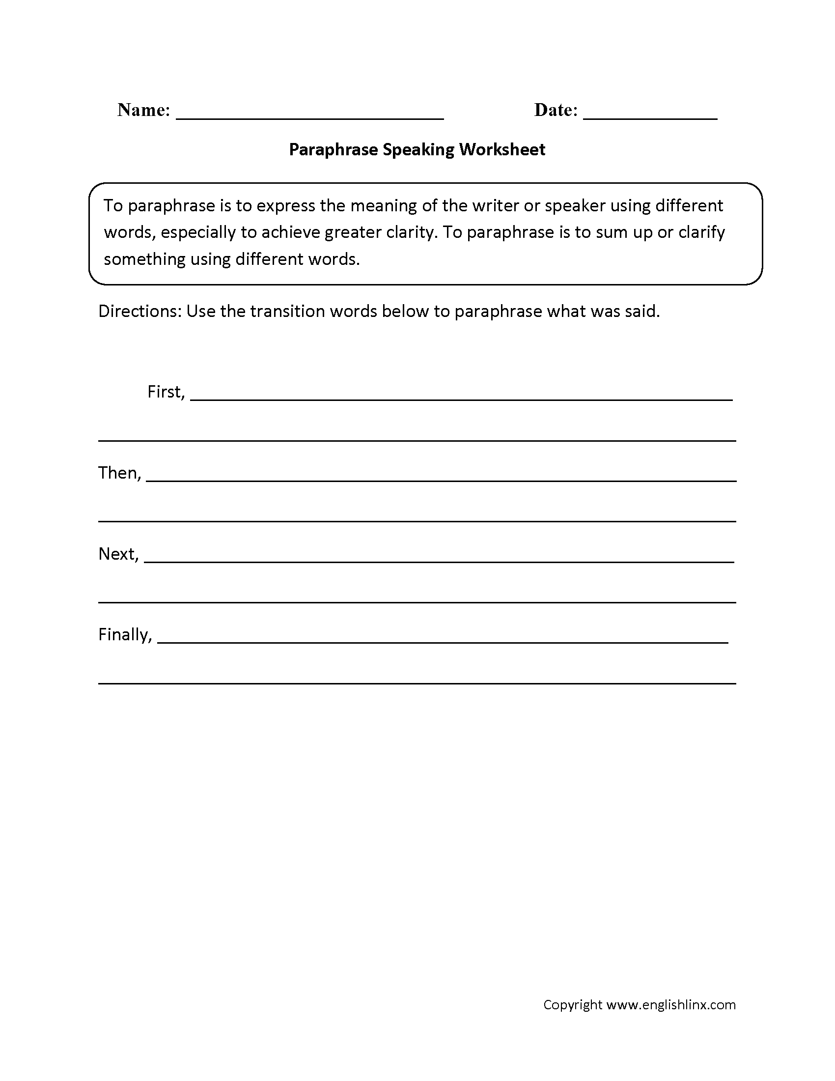 worksheet Paraphrase Practice Worksheet englishlinx com speaking worksheets paraphrase worksheets