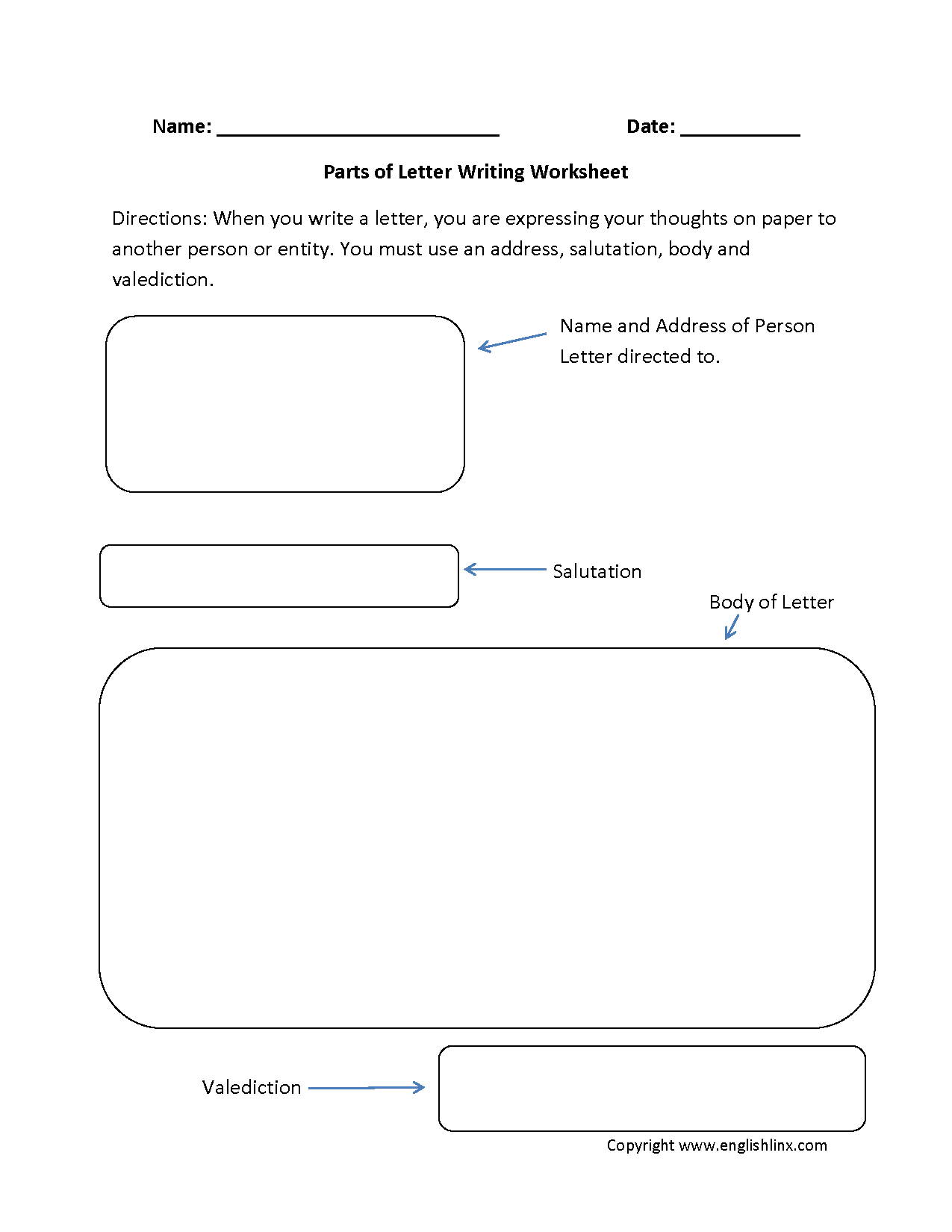 Letter Writing Worksheets | Parts of Letter Writing Worksheets