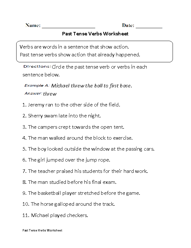 Verb Tenses Worksheets : Past Tense Verbs Worksheet