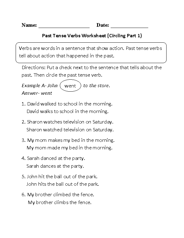 Printables Past Tense Verb Worksheets verbs worksheets verb tenses circling past tense worksheet