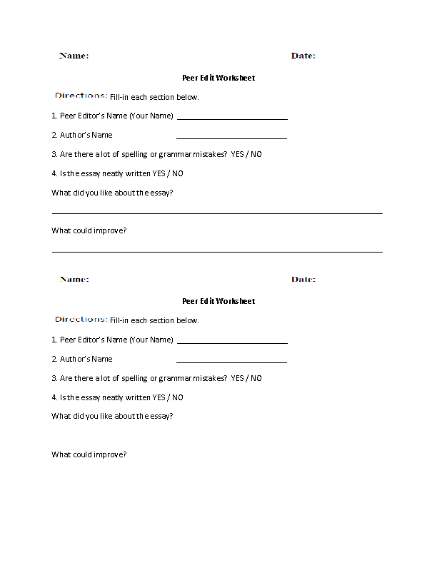 Peer editing worksheets middle school