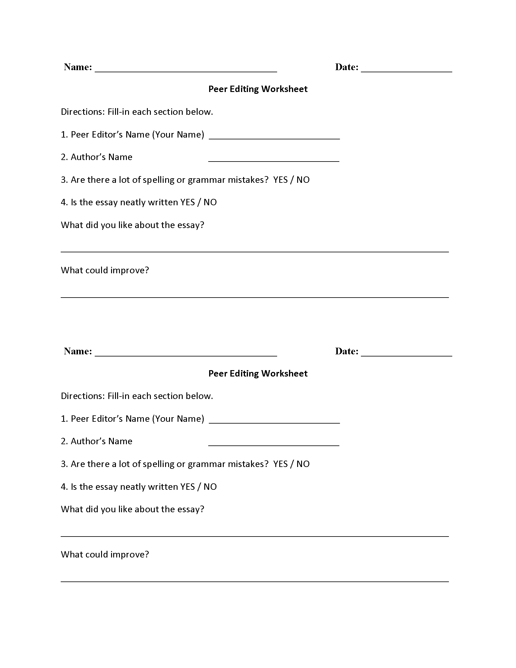 Writing Worksheets | Editing Worksheets
