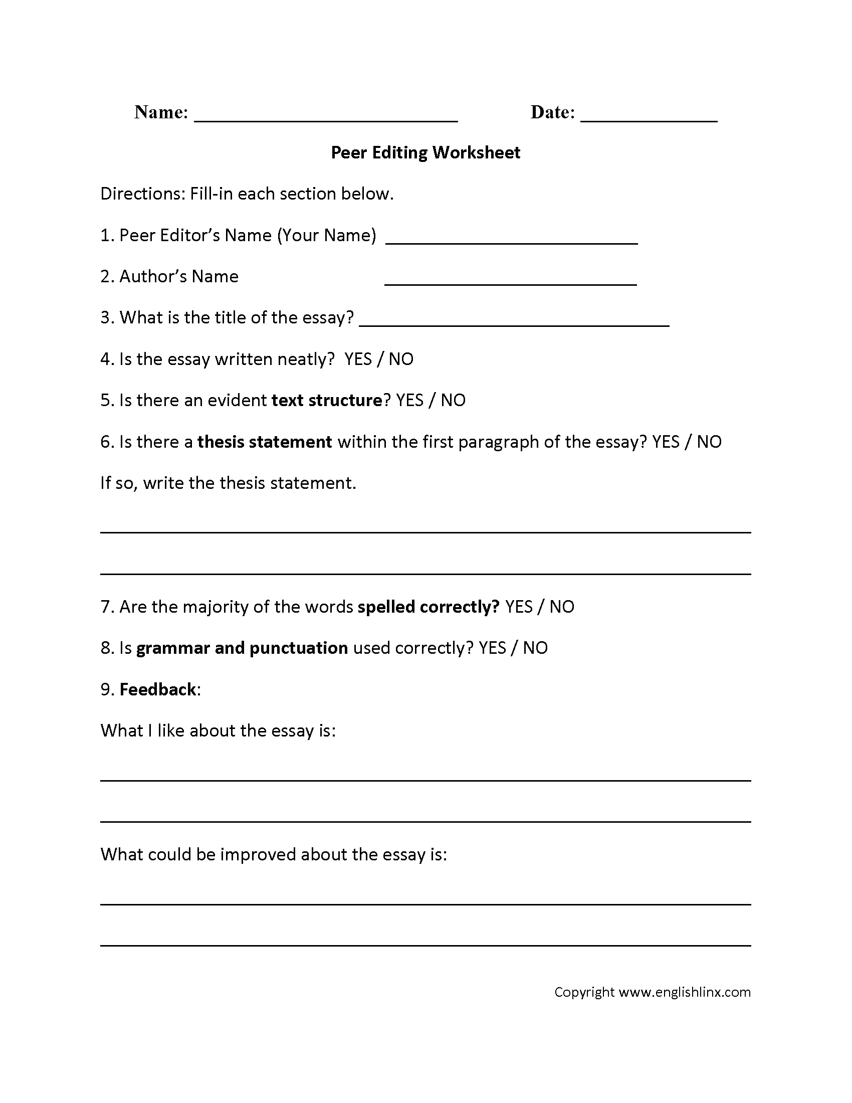 Writing Worksheets – Sentence Editing Worksheets