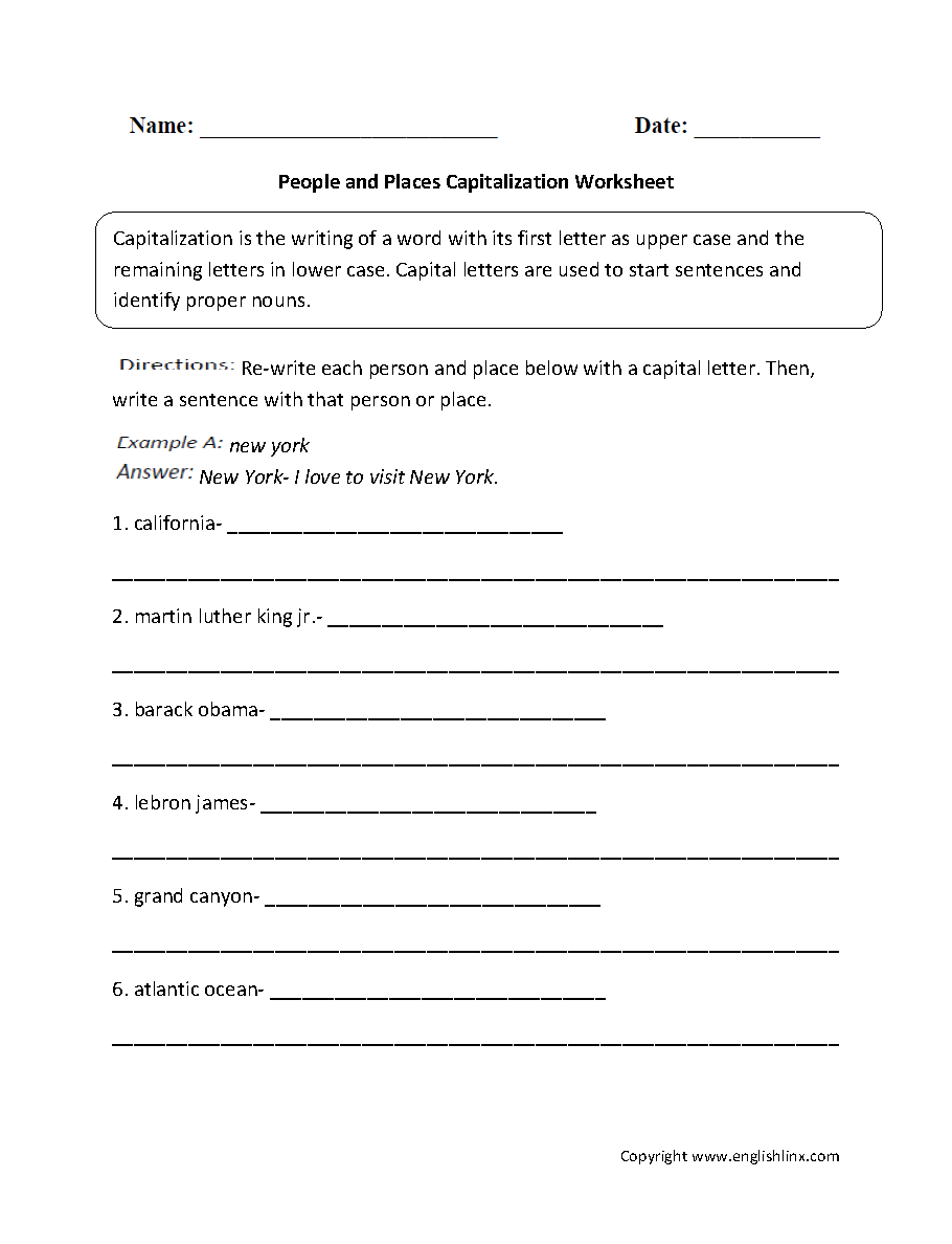 Grammar Mechanics Worksheets – Capitalization Worksheets
