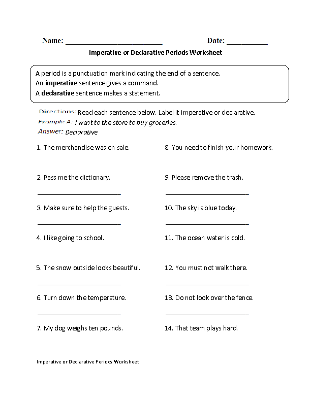 Imperative or Declarative Period Worksheet