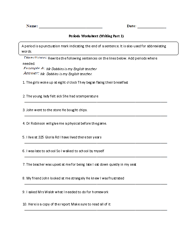 Adding Period Worksheet