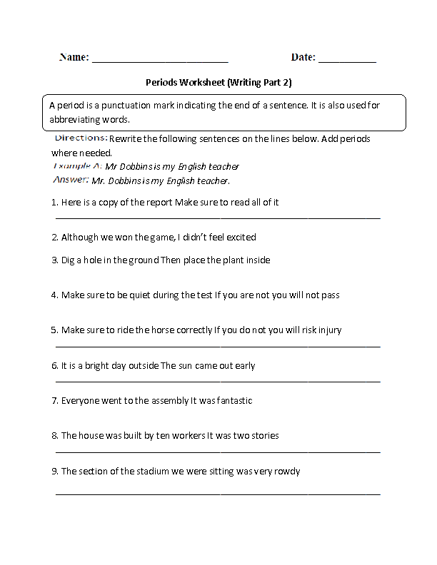 Writing Periods Worksheet