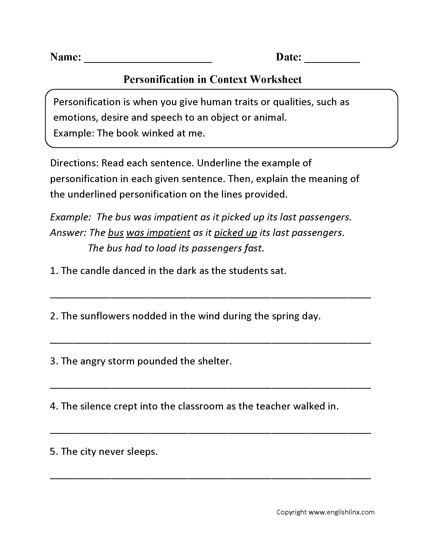 Figurative Language Worksheets – Personification Worksheet