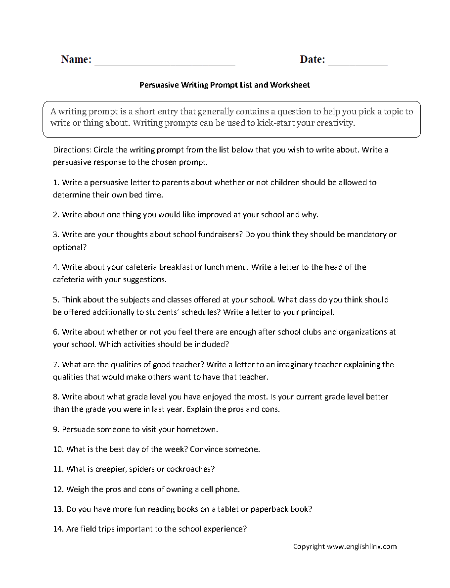 writing prompts worksheets persuasive writing prompt worksheets persuasive topic list writing prompt worksheet