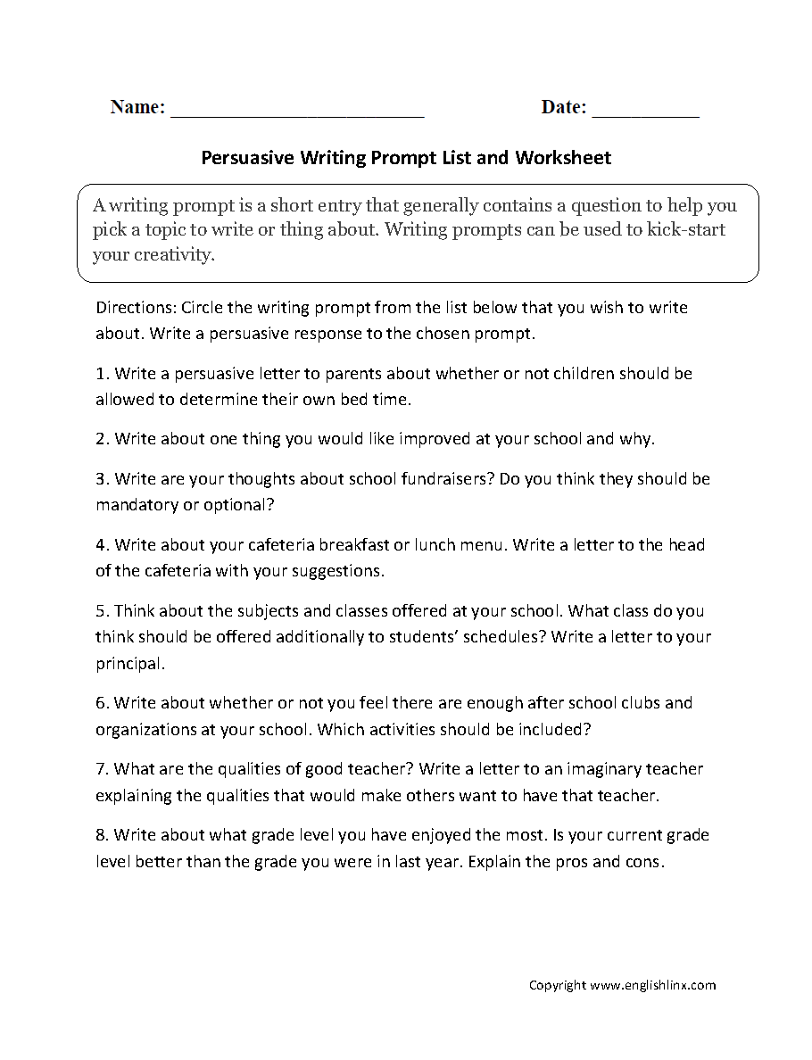 argumentative essay prompts 6th grade A persuasive essay is also referred to as an argument essay you must use reason and logic to convince the reader that one idea is more legitimate than another you must attempt to persuade the reader of your essay to adopt your point of view for 6th graders, the persuasive essay topics should be captivating yet not too.