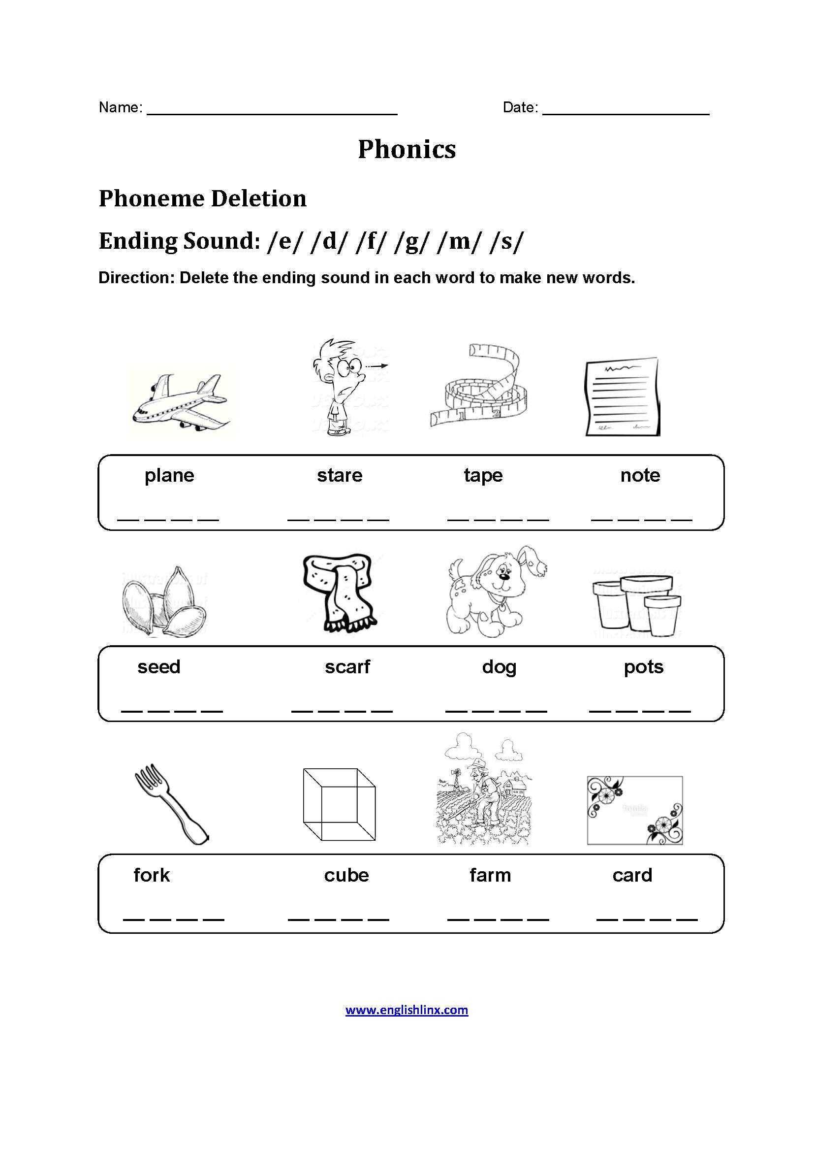 Phoneme-Deletion-Phonics-Worksheet Vowel Worksheet For Kindergarten on cut paste, all short, same word, printable packets,