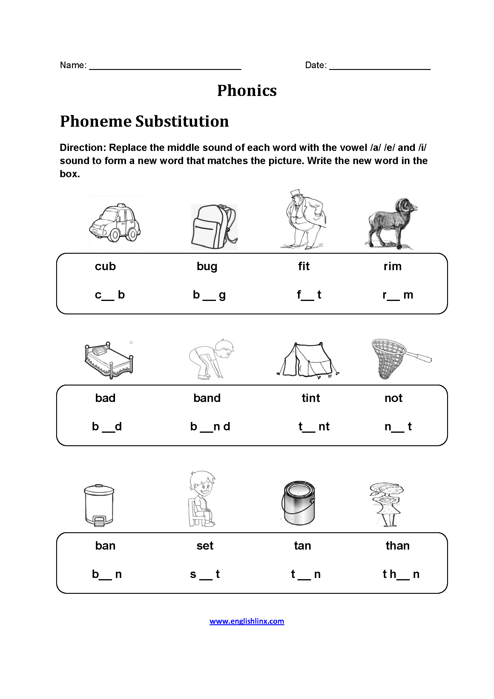 Phoneme Substitution Phonics Worksheets