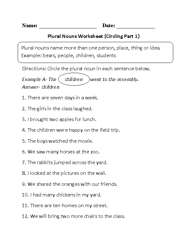 Nouns Worksheets – Nouns Worksheets for Kindergarten