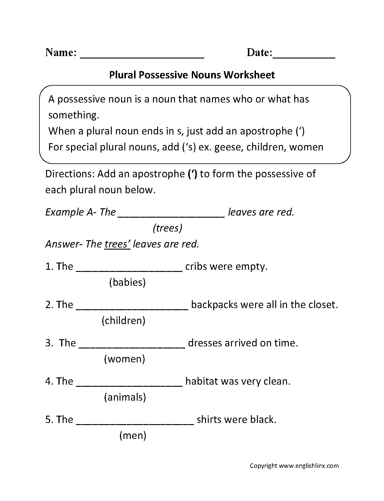 Nouns Worksheets | Possessive Nouns Worksheets