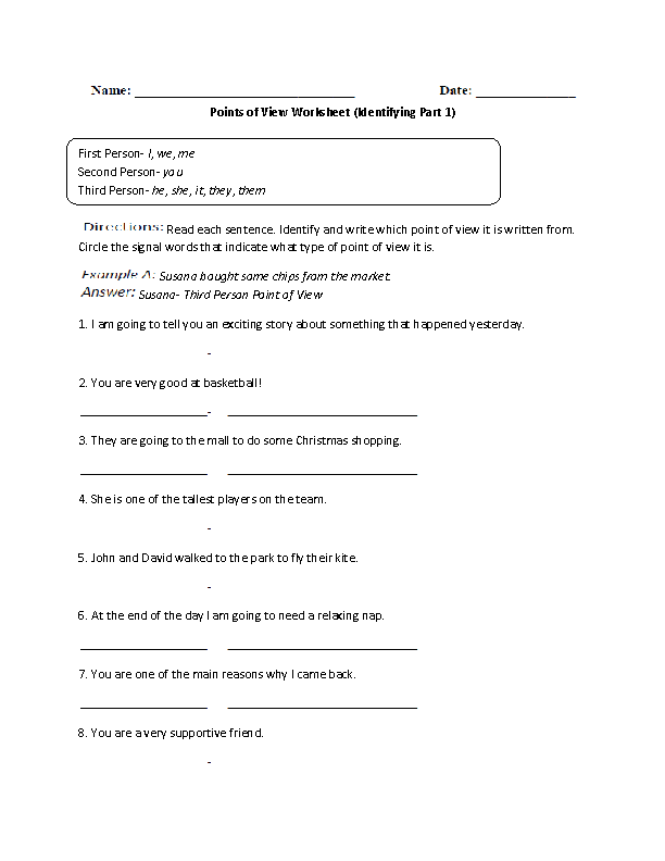 Point of View Worksheets – Point of View Worksheet