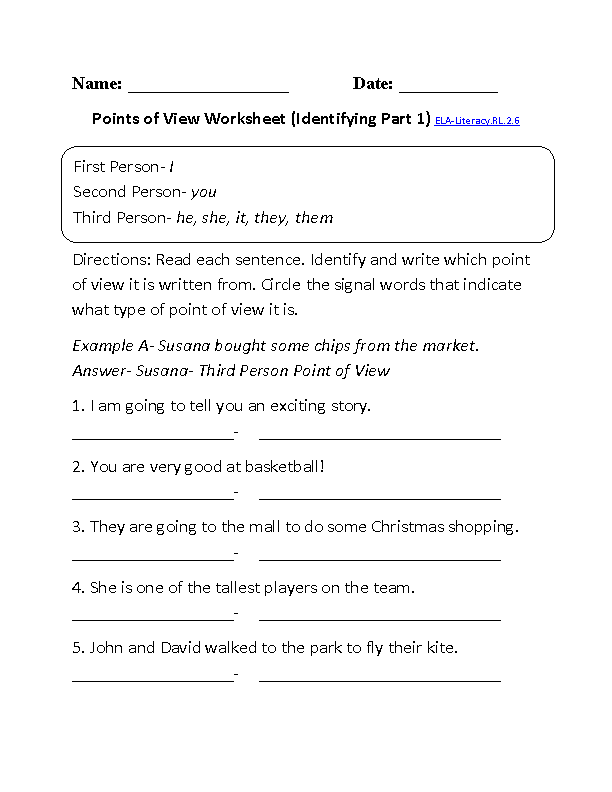 Points of View Worksheet 1 ELA-Literacy.RL.2.6 Reading Literature Worksheet