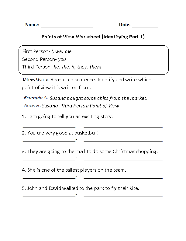Englishlinx.com   Point of View Worksheets