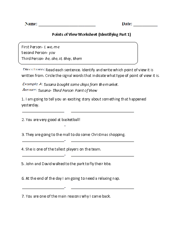 Englishlinx – Point of View Worksheets