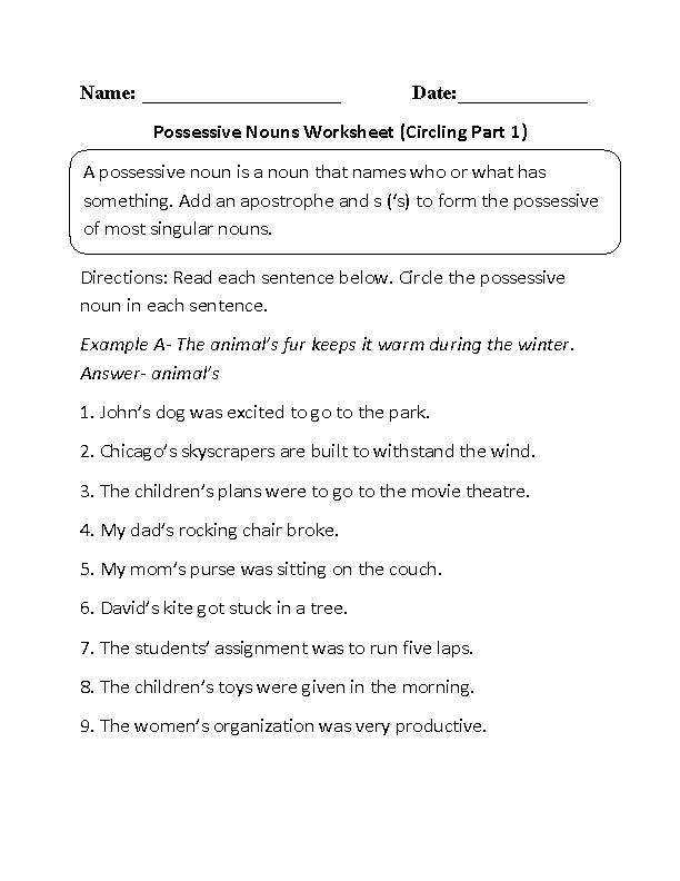 Possessive Nouns Worksheet: Singular And Plural Possessive Nouns Worksheets At Alzheimers-prions.com