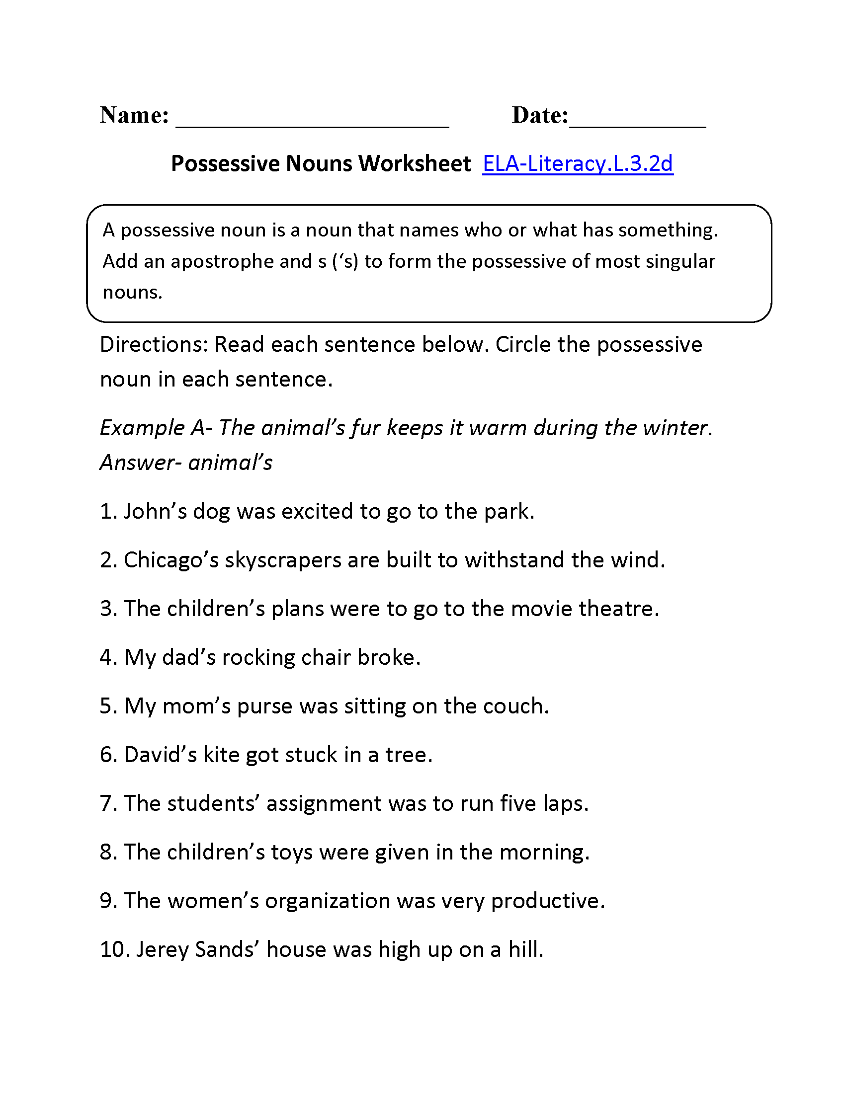 Possessive Nouns Worksheet 1 ELA-Literacy.L.3.2d Language Worksheet