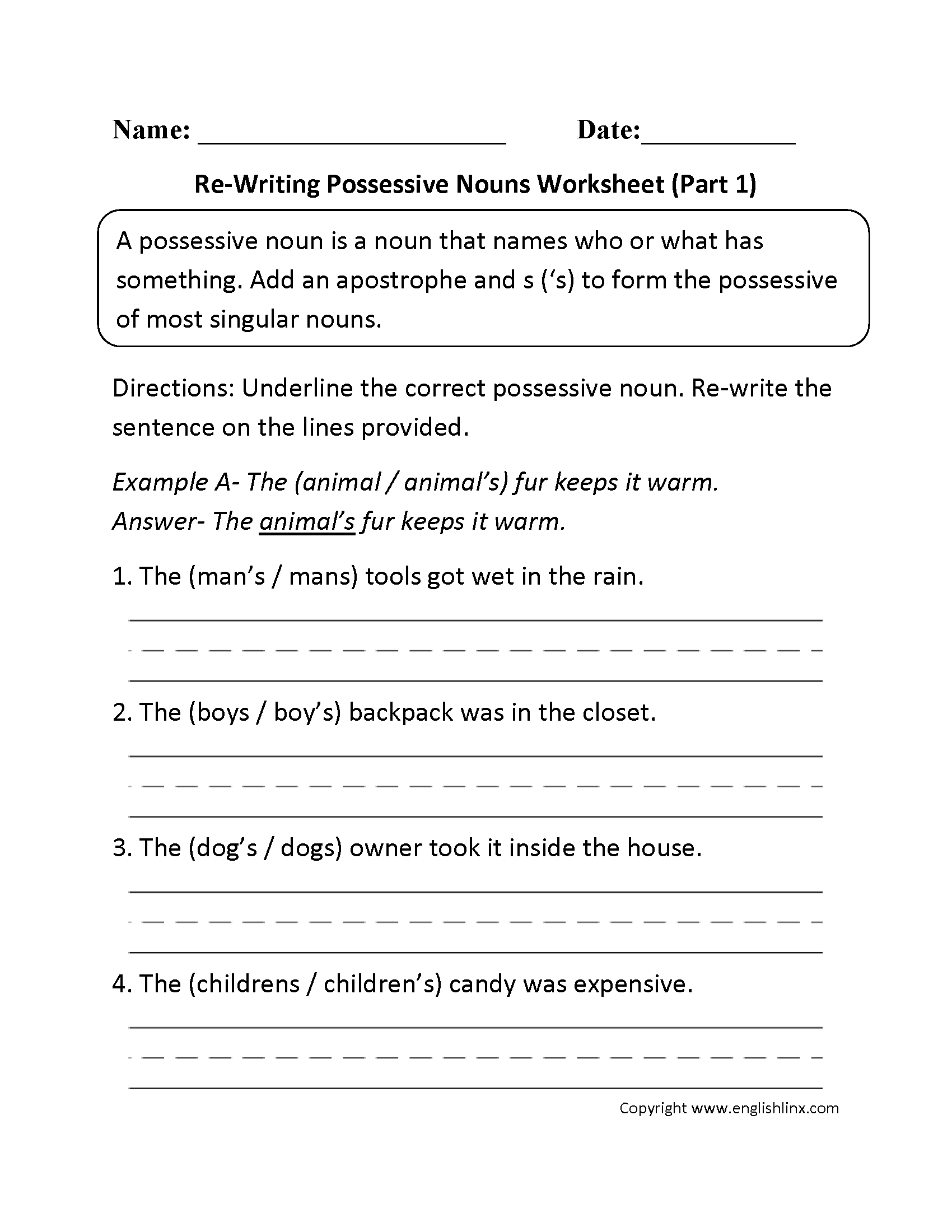 Possessive Nouns Worksheets – Singular Possessive Nouns Worksheets